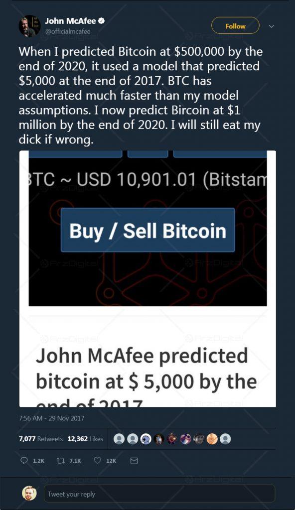 جان مک آفی، پیش بینی خود درباره بیت کوین را دو برابر کرد: بیت کوین به  1 میلیون دلار می رسد