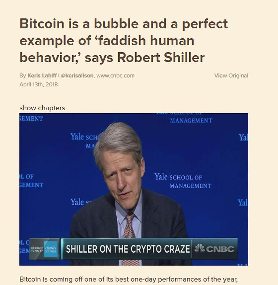 رابرت شیلر: حباب بیت کوین ماندگار است