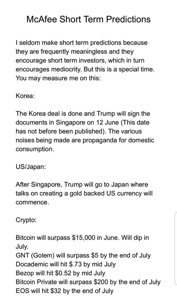 پیشبینی عجیب مک آفی از قیمت ارزهای دیجیتال در ماه ژوئن !
