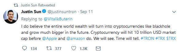خالق ترون جواب بوترین را داد: ارزش بازار ارزهای دیجیتال به 10 تریلیون دلار میرسد !