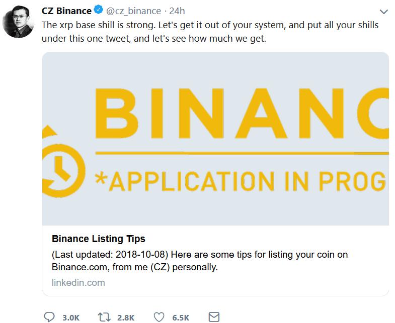 مدیرعامل بایننس: احتمال تبدیل ریپل به یکی از ارزهای پایه در این صرافی !