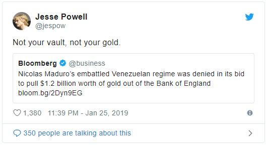 یادآوری اهمیت بیت کوین، پس از بلوکه شدن 1.2 میلیارد دلار از طلاهای ونزوئلا در بانک انگلستان !