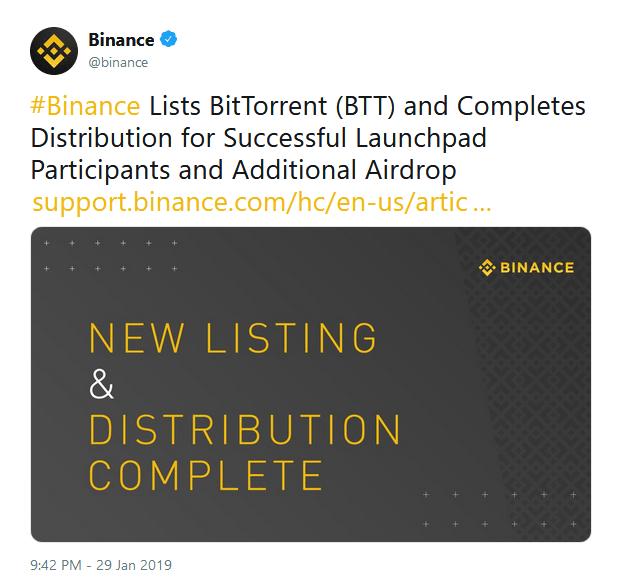 توکن بیت تورنت (BTT) فردا به صرافی بایننس اضافه خواهد شد