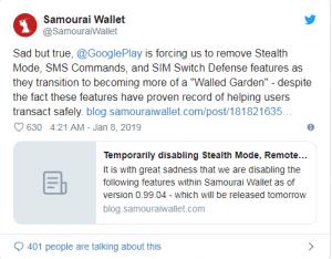 حذف ویژگیهای امنیتی کیف پول سامورایی به دلیل فشار گوگلپلی !