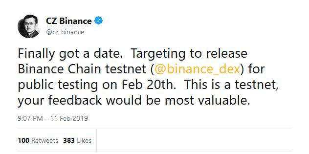 تاریخ راهاندازی نسخه آزمایشی صرافی غیرمتمرکز بایننس اعلام شد