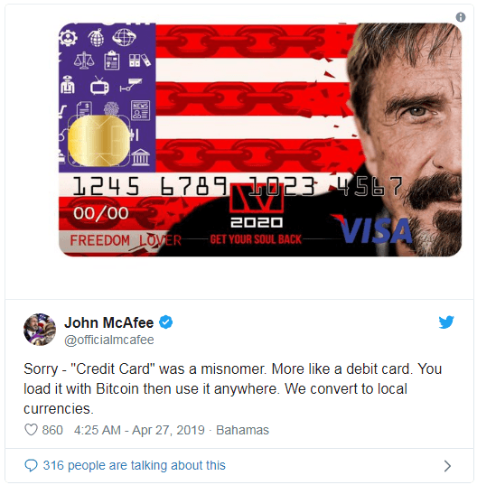 جان مکآفی به دنبال عرضه کارت اعتباری بیت کوین