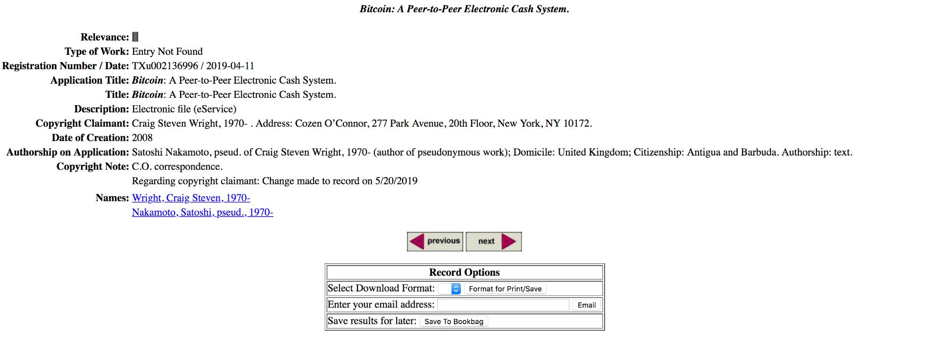ارائه سوابق مالکیت بیت کوین در دادگاه توسط کریگ رایت