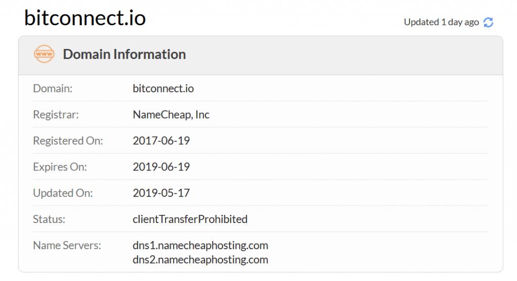 اطلاعات دامنه سایت bitconnect.io