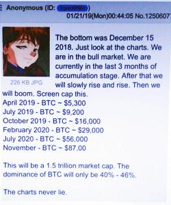 پست منتشر شده از سوی تحلیلگر ناشناس در تاریخ 21 ژانویهی 2019 به اعتقاد او قیمت بیت کوین در ماههای جولای و اکتبر 2019 به ترتیب 9,200 و 16,000 دلار خواهد شد