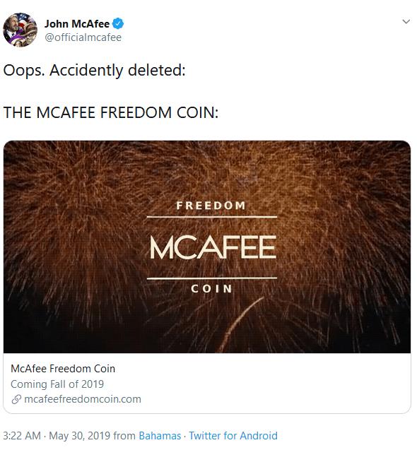 توییت جان مک آفی و اعلام عرضه سکه آزادی