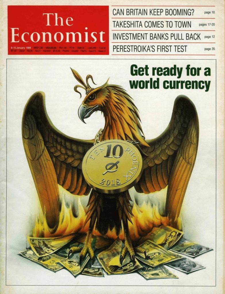مجله اکونومیست در سال 1988 که یک ارز جهانی را پیش بینی کرده است