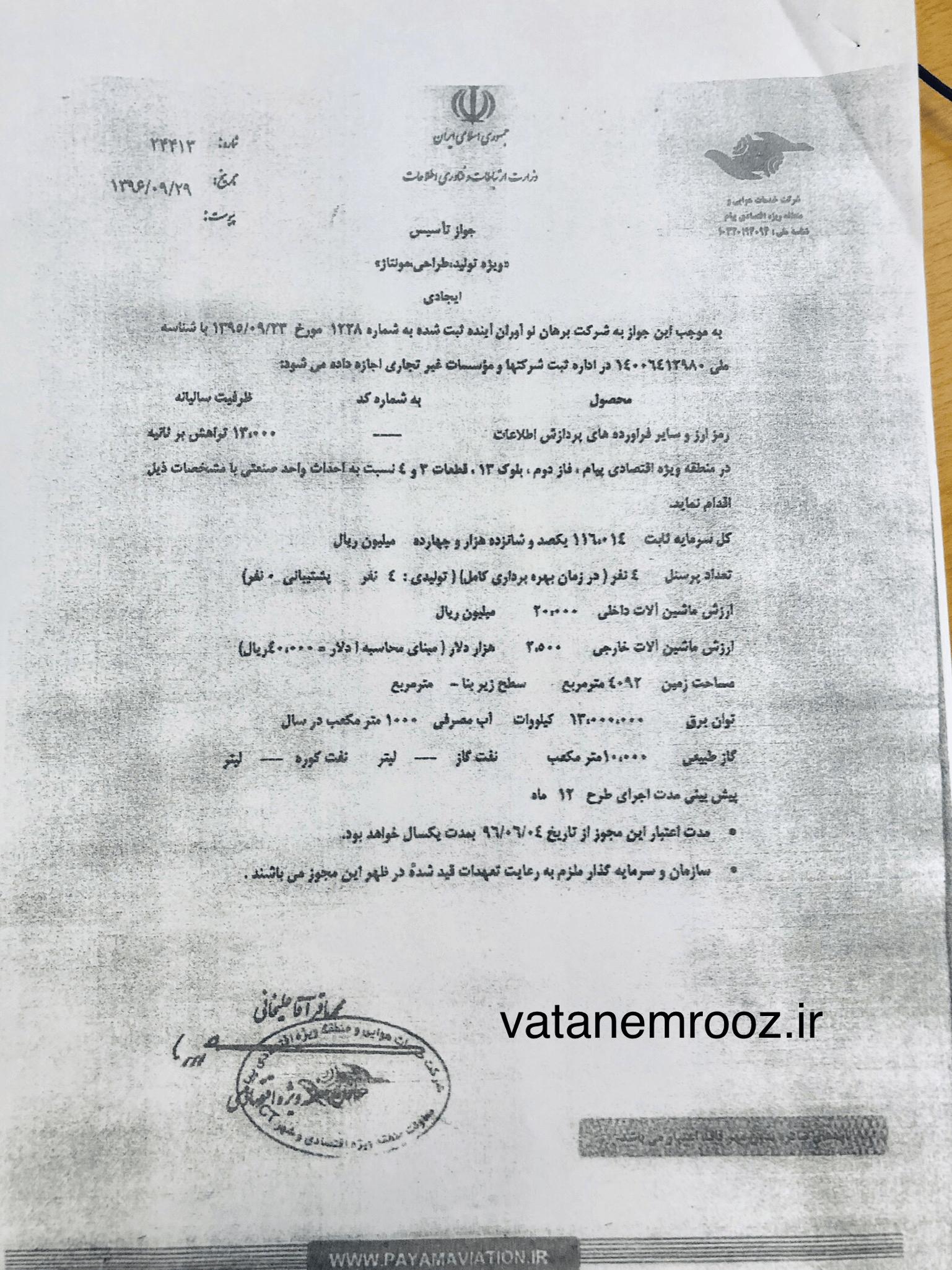 صدور مجوز تاسیس فارم استخراج بیت کوین در سال 96 توسط وزارت ارتباطات+سند