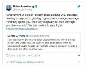 واکنش برایان آرمسترانگ (Brian Armstrong)، مدیرعامل کوین بیس به توییت ترامپ در خصوص بیت کوین و ارزهای دیجیتال