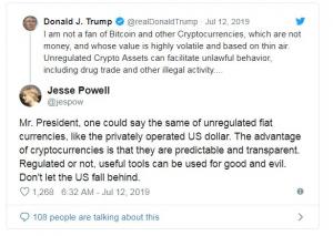 واکنش جسی پاول به توییت ترامپ در خصوص بیت کوین و ارزهای دیجیتال