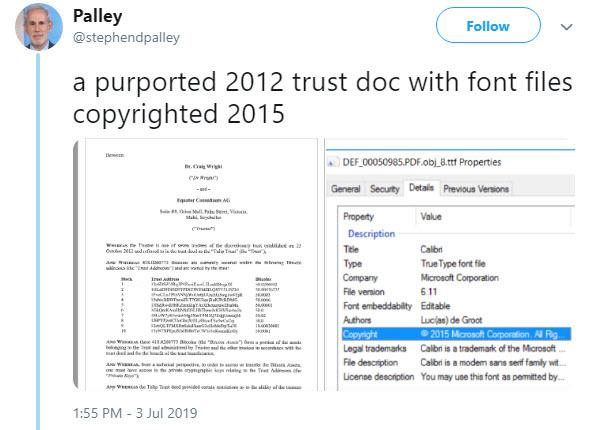 ارائه مدارک جعلی و ساختگی توسط کریگ رایت در دادگاه برای پرونده شکایت ورثه دیوید کلیمن