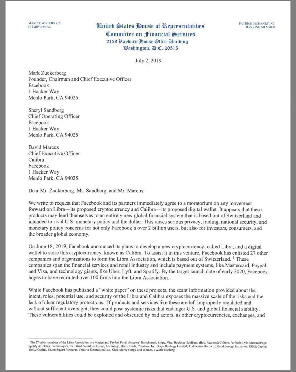 کنگره آمریکا با ارسال نامهای خواستار توقف برنامه لیبرا شد
