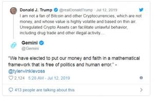 واکنش تایلر وینکلواس به توییت ترامپ در خصوص بیت کوین و ارزهای دیجیتال