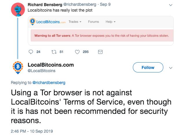 صرافی لوکال بیت کوینز به کاربران مرورگر Tor هشدار داد: خطر سرقت بیت کوینها!