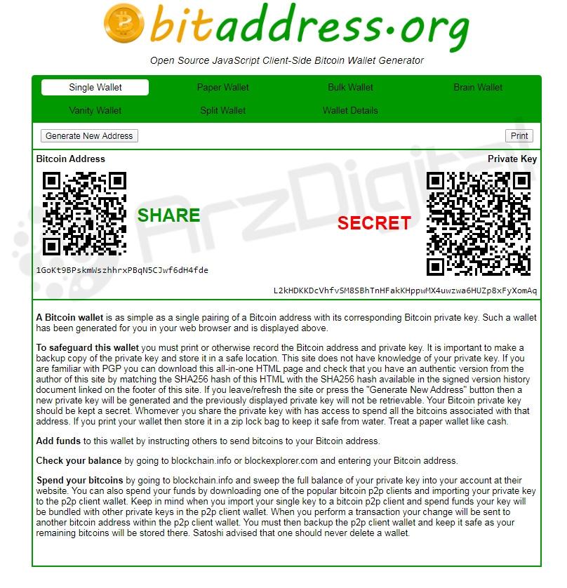 کیف پول کاغذی بیت کوین - ایجاد آدرس و کلید خصوصی بیت کوین