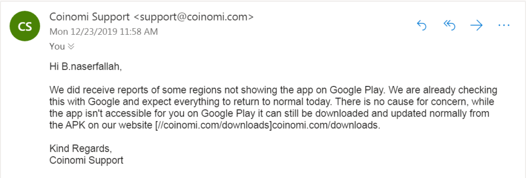 حذف شدن کیف پول کوینومی از گوگل پلی و پلی استور