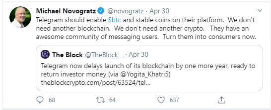 مایک نووگراتز درباره تلگرام: ما به ارز دیجیتال دیگری نیاز نداریم