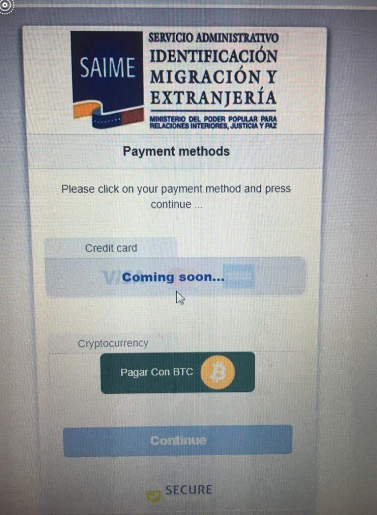 ونزوئلا برای صدور پاسپورت، گزینه پرداخت بیت کوین را آزمایش کرد