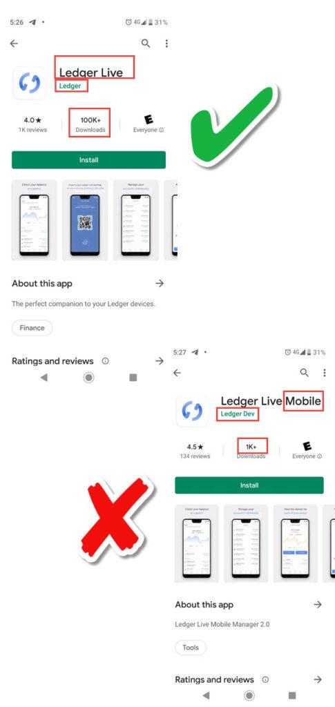مراقب نرمافزارهای تقلبی لجر لایو (Ledger live) در گوگل پلی باشید