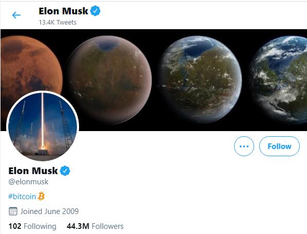 مشخصات کاربری صفحه رسمی ایلان ماسک در توییتر